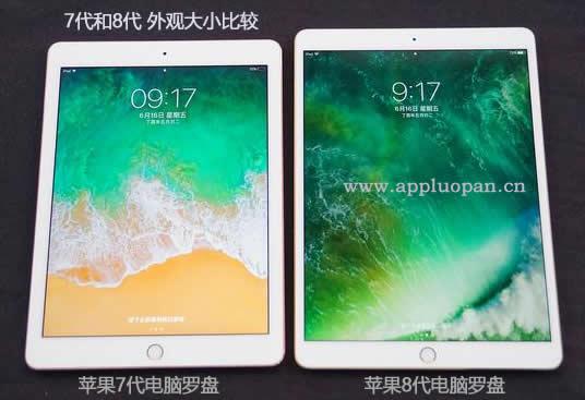 10.5英寸的苹果8代电脑风水罗盘和9.7英寸的苹果7代电子罗盘比较