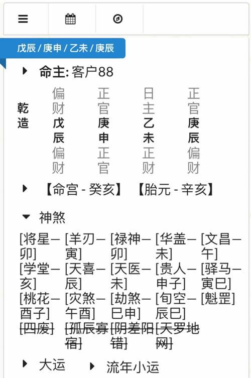 手机版四柱八字排盘软件功能截图